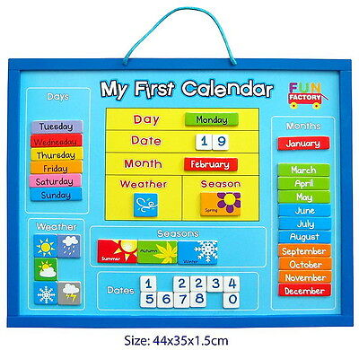 New My First Calendar Magnetic Wooden Educational Toy Weather Season Date Chart