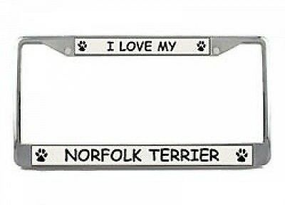 I Love My Norfolk Terrier Chrome License Plate Frame