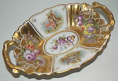 Meissen / Donath Dresden Hand Painted 2-Handled Oval Bowl / Dish