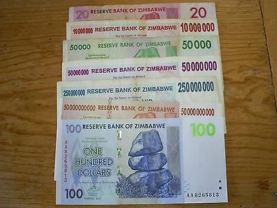 7 different Zimbabwe paper money most high denominations in millions nice circ.
