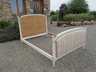 """Vintage French Double Bed Frame """"square Capitonne"""" Louis Xvi Revival Style"""