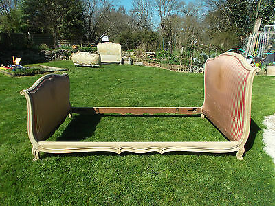 Vintage French Double Sleigh Bed Quality Original Putty Colour Frame 3/4 Size