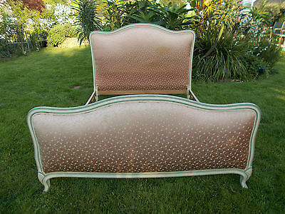 """FRENCH DOUBLE BED VINTAGE """" CAPITONNE"""" Ditsey Floral Coral Pink Ivory Frame"""