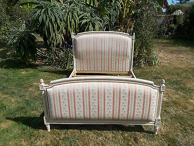 """Vintage French Double Bed Frame Xmas Del """"square Capitonne"""" Louis Revival Style"""