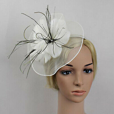 Net Flower Feather Large Headband Fascinator Wedding Races Royal Ascot Party Hat