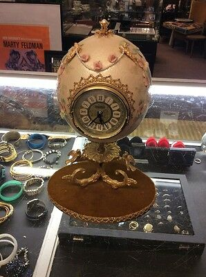 Vintage Had Crafted Egg Clock With Cherubs