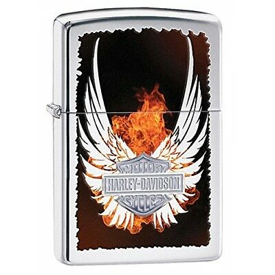 "Zippo ""Wings"" Harley Davidson High Polish Chrome Windproof Lighter Brand New"