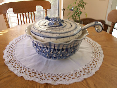 Turtles embellish this great soup tureen with top & ladle included  A MUST SEE!