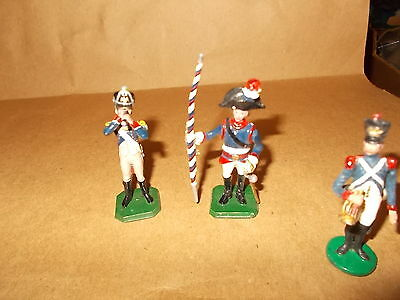 Painted Metal 3 French Napolionic Figures Inc. Bugler,officer - 54Mm -Approx