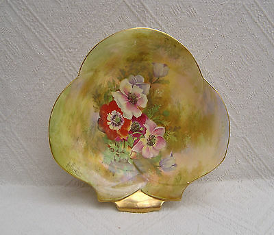 Vintage Royal Winton Grimwades Serving Dish - Hand Painted Anemone - Signed