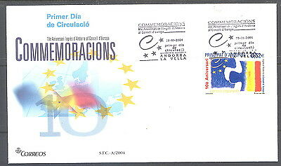 Spanish Andorra FDC Admission to the Council of Europe 10th Anniversary 2004