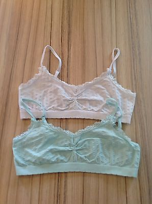 Girls 2 x White and Mint Green Vest Top Bras - Age 9-10 Years