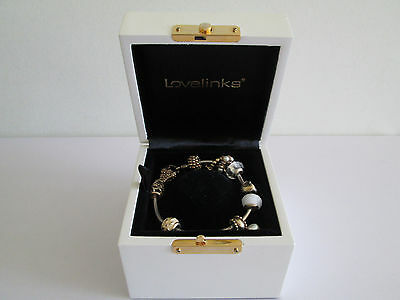 *wow* Genuine Lovelinks Sterling Silver Charm Bracelet With 9 Charms & Case