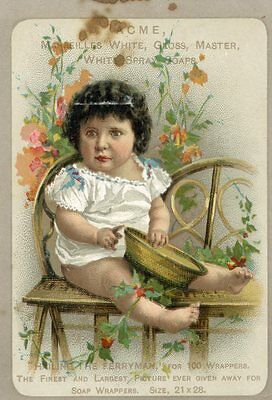 Victorian trade card, Acme Soap baby girl Saratoga NY Warner & VanNess Groceries