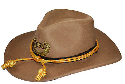 American Civil War Confederate Butternut Slouch Western Hat & Badge & Cord 55cms