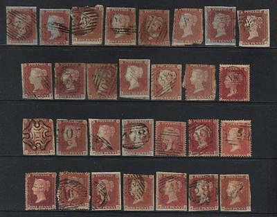 GREAT BRITAIN 1d MOSTLY IMPERF USED SELECTION VERY HIGH CATALOGUE