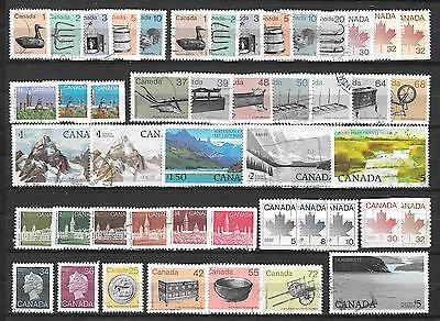 Caanada - 1982 to 1987 DEFINITIVES, (47 diff) incl. two $5.- stamps; used