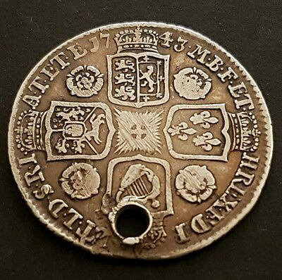 1743 King Georg II Silver Shilling - Holed