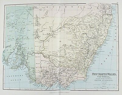 OLD ANTIQUE MAP AUSTRALIA NEW SOUTH WALES VICTORIA c1879 by G PHILIP