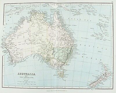 OLD ANTIQUE MAP AUSTRALIA NEW ZEALAND TASMANIA c1879 by G PHILIP PRINTED COLOUR