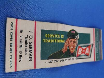 Service @ Ba Sign Oil Gas Station J Germain 7&10 Hwy Excise Tax Stamp Matchbook