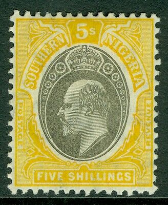 SG 30a Southern Nigeria 5/- Grey Black and yellow Lightly mounted mint CAT £85