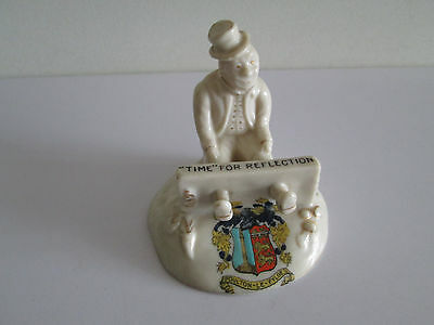 *wow* Clifton Crested China Figurine Man In Stocks Poulton-Le-Flyde
