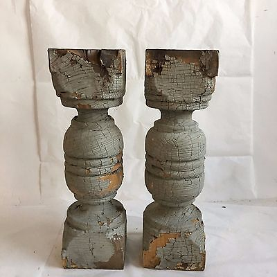 Two(2) 1890's RECLAIMED Wood SHABBY Candle Stands Crusty Gray Balusters Chic F2