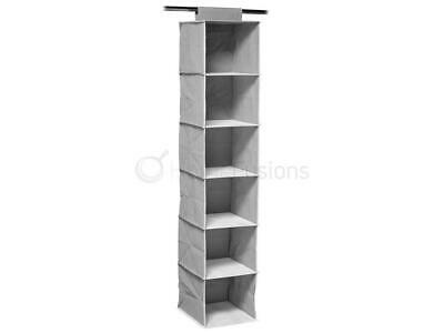 6 Section Hanging Shoe Organiser Wardrobe Garment Storage Shelves Clothes Grey
