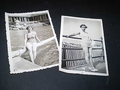 social history 1930's glamour lady in bathing costume fashion 2 photographs
