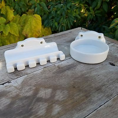 2 Vintage White Porcelain Bathroom Fixtures Toothbrush Holder and soap dish