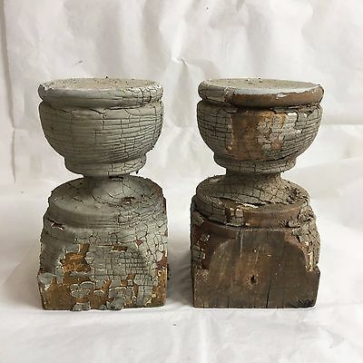 Two(2)1890's RECLAIMED Wood SHABBY Candle Stands Crusty Gray Balusters Chic F3