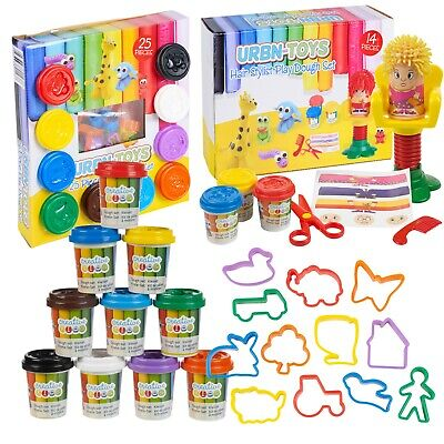 14, 25 or 71 Piece Clay Craft Dough Gift Set Tubs Shapes Children Toys Xmas