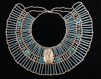 Egyptian Queen Cleopatra Beaded Collar Necklace With King Tut Gods of Egypt