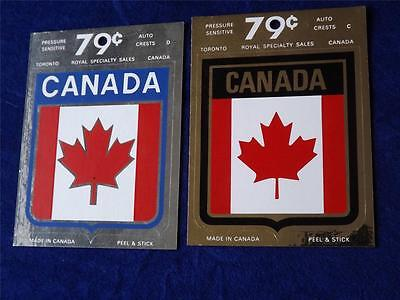 Canada Flag Sticker Decal Lot Of 2 Auto Crests Silver & Gold Tone