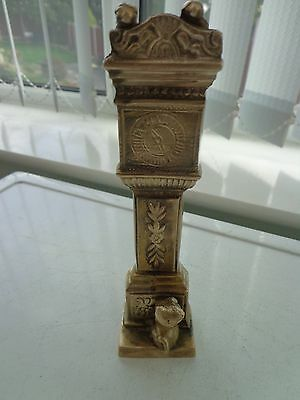 Vintage Brass Grandfather Clock/cat & Mice Ornament