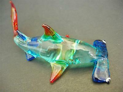 Glass HAMMERHEAD SHARK Tinted Turquoise Body Red Fins Glass Animal Ornament Gift