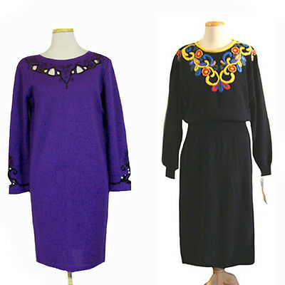 1980s Dress Lot Vintage Sweater Dress Body Con Slouchy Embroidery