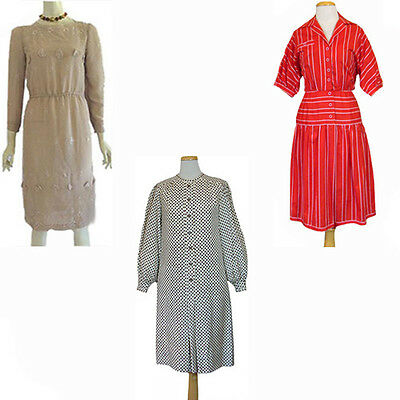 Vintage 1970s 1980s Dress Lot Adele Simpson Stripes Embroidery Pull Threads