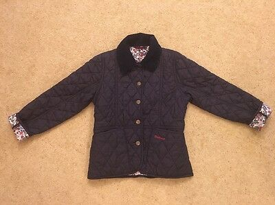 Barbour Girls Dark Blue Quilted Jacket With Flower Lining Size Small (6-7 Years)