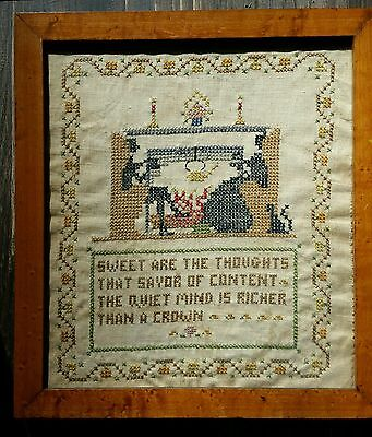 Antique Needlework Sampler Cross Stitch 1930s Sweet Are The Thoughts Hearth