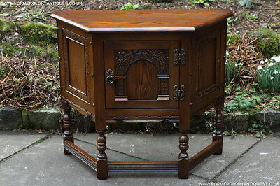 Old Charm Light Oak Canted Cabinet Phone Side Table Sideboard Dresser Base Stand