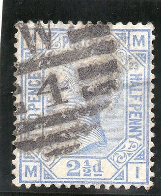 G.B. - used QV - SG157 ( Plate 23 )  - 2 1/2d Blue  - Cat Val £28