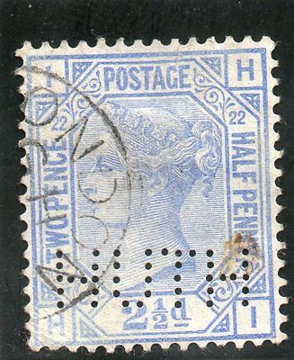 G.B. - used QV - SG157 ( Plate 22 )  - 2 1/2d Blue  - Cat Val £35