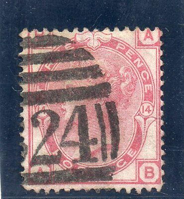 G.B. - used QV - SG144 ( Plate 14 )  - 3d Pale Rose  - Cat Val £45