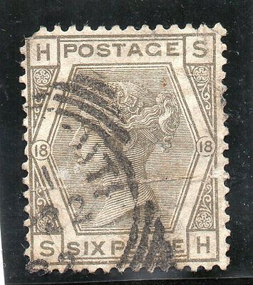 G.B. - used QV - SG161 ( Plate 18 )  - 6d Grey  - Cat Val £65