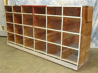 24 Cubbyhole Hardware Store Nut Bolt Nail Bin Wood Display Case Cabinet Wood OLD