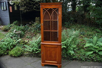 A Bevan Funnell Yew Corner Display China Cabinet Cupboard Shelves Stand Bookcase