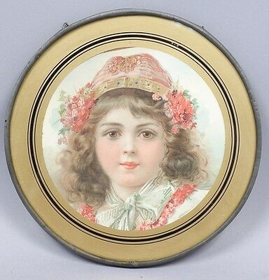 Charming Antique c1900 Chromolithograph Flue Cover of Young Girl