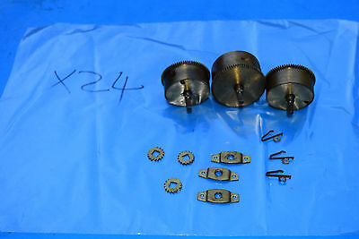 antique west minsters  clock spring barrels and spring clips 1